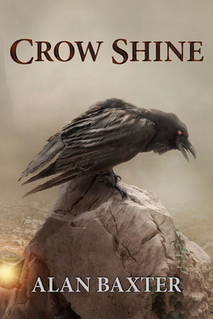 Crow Shine cover, image of a crow on a rock